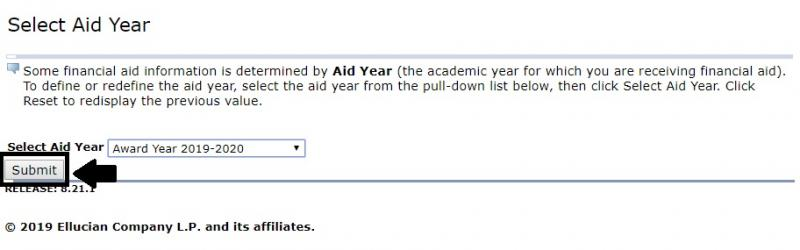 Select Aid Yr and Submit